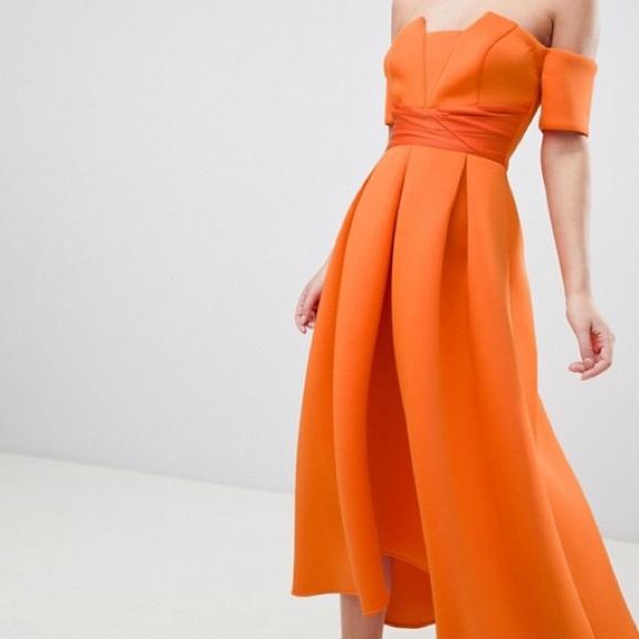f95ab5ea5b37 ASOS Petite Dresses   Nwt Bardot Pleated Scuba Dress Orange   Poshmark
